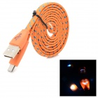 Flashing Micro USB Braided Flat Charging / Data Cable for LG Nexus 5 / 4 / E960 + More - Orange (1m)