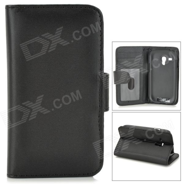 все цены на  IKKI Protective PU Leather Case w/ Screen Protector for Samsung Galaxy S3 Mini i8190 - Black  онлайн