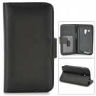 IKKI Protective PU Leather Case w/ Screen Protector for Samsung Galaxy S3 Mini i8190 - Black