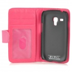 Protective Lambskin Case w/ Stylus Pen for Samsung Galaxy S3 Mini i8190 - Deep Pink