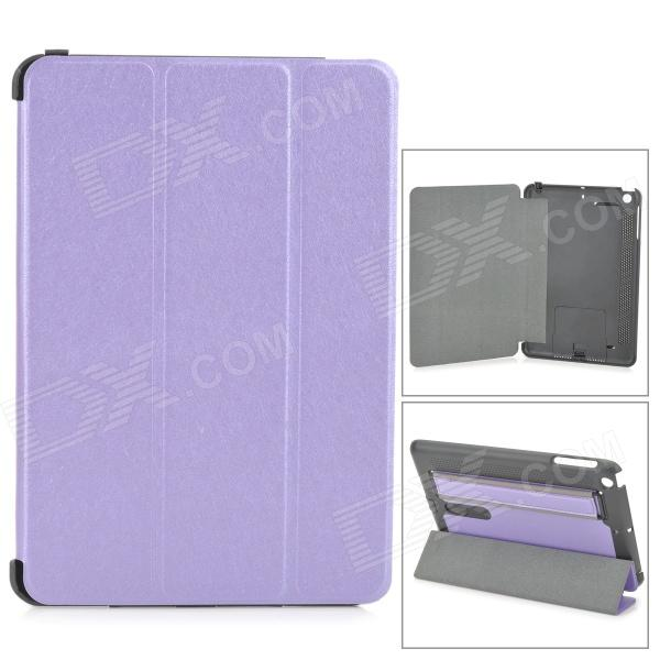 Protective PC + PU Case w/ Stand for Retina IPAD MINI - Purple + Black small holes style protective pe back case for htc one x s720e purple