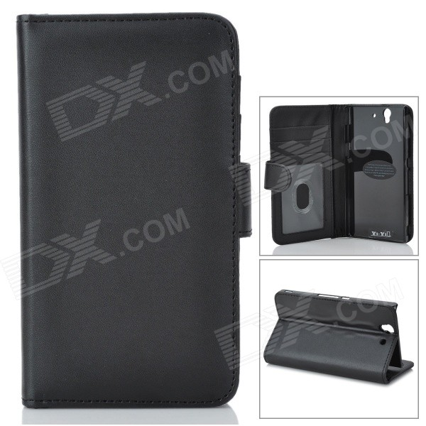 Protective PU Leather Case w/ Card Holder Slots for Sony L36h / Xperia Z / C6603 - Black sports gym nanometer armband case for sony xperia z l36h c6603 blue black grey