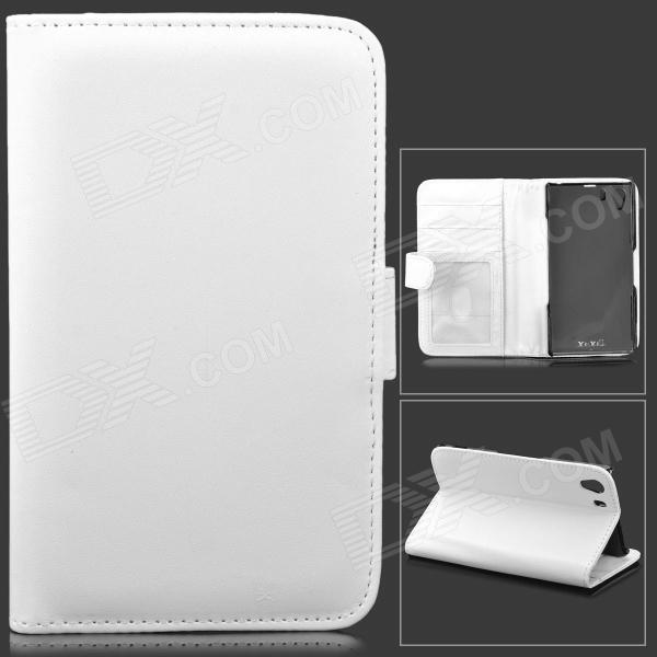 Protective Lambskin Case w/ Card Holder Slots for Sony Xperia Z1 / Xperia i1 L39h - White