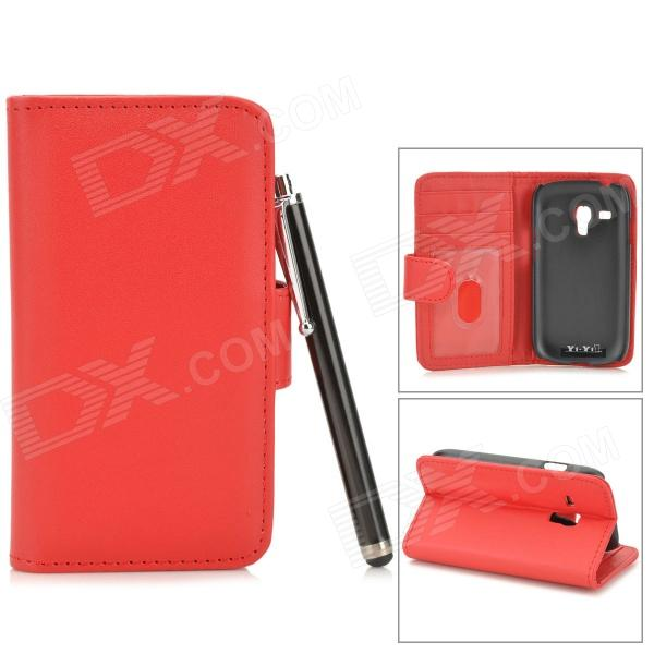 Protective Lambskin Case w/ Card Holder Slots / Stylus Pen for Samsung Galaxy S3 Mini i8190 - Red телефон apple iphone 7 32gb a1778 как новый black