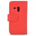 Protective Lambskin Case w/ Card Holder Slots / Stylus Pen for Samsung Galaxy S3 Mini i8190 - Red