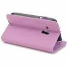 Protective Lambskin Case w/ Card Holder Slots / Stylus Pen for Samsung Galaxy S3 Mini i8190 - Purple