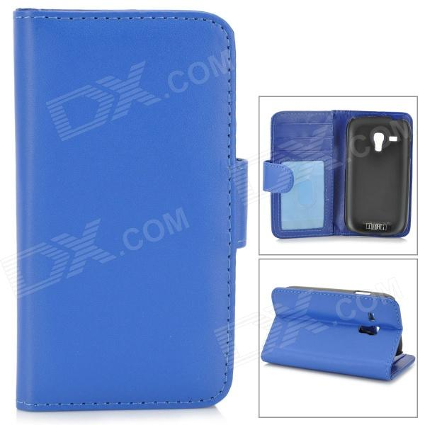 IKKI Protective PU Leather Case w/ Screen Protector for Samsung Galaxy S3 Mini i8190 - Blue
