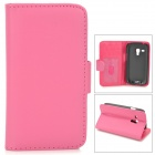 IKKI Protective PU Leather Case w/ Screen Protector for Samsung Galaxy S3 Mini i8190 - Deep Pink