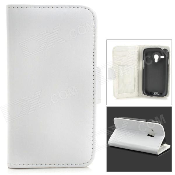 IKKI Protective PU Leather Case w/ Screen Protector for Samsung Galaxy S3 Mini i8190 - White