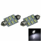 Festoon 39 milímetros 3W 300lm 6-SMD 5630 LED Branco Car Light Reading / Telhado Lamp / Dome Bulb (12V / 2 PCS)