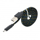 USB Male to Micro USB Male Nylon Woven Flat Data Charging Cable for Sony / HTC