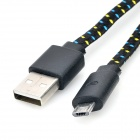 USB M to Micro USB M Nylon Woven Flat Data Charging Cable - Black