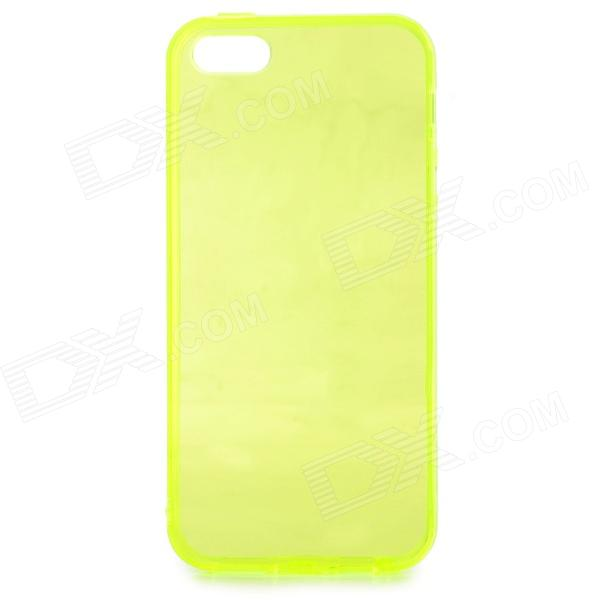Protective Silicone Back Case for IPHONE 5 / 5S - Translucent Yellow stylish bubble pattern protective silicone abs back case front frame case for iphone 4 4s
