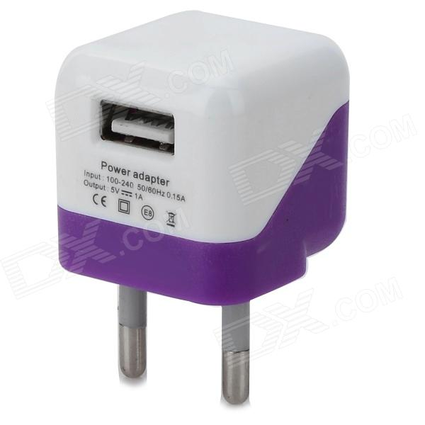 5V 1000mA EU Plug Power Adapter w/ Cable for Samsung Galaxy S3 i9300 + More - White + Purple ikki 5v 2a eu plug power adapter w charging cable for samsung galaxy note 3 n9006 more black