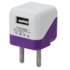 5V 1000mA EU Plug Power Adapter w/ Cable for Samsung Galaxy S3 i9300 + More - White + Purple