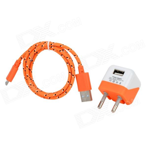 5V 1000mA EU Plug Power Adapter w-kabel voor Samsung Galaxy S3 i9300 + Meer Wit + Oranje