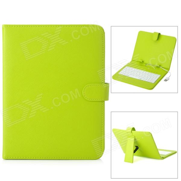 8 Protective PU Leather Keyboard Case for Tablet PC - Light Green + White