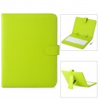 "8"" Protective PU Leather Keyboard Case for Tablet PC - Light Green + White"