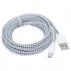 USB macho de nylon cable de datos micro USB macho para Samsung P5200 - blanco