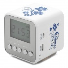 "NIZHI TT-032 1.5"" Screen 3W Mini MP3 Speaker w/ FM / USB / TF / Micro USB - Blue + White"