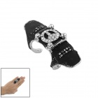 Armor Full Ring Finger - Negro + Plata