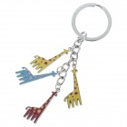 Fashionable Giraffe Style Stainless Steel Keychain - Silver + Yellow + Blue + Red
