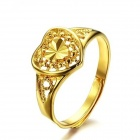 KJ007 18K Gold Plated Hollow Out Love Style Women's Opening Ring - Gold(Free Size)