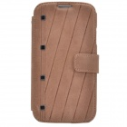 Zenus Stylish Protective Head Layer Cowhide Case Cover w/ Card Slots for Samsung Galaxy S4 - Brown