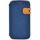 Zenus Stylish Protective Head Layer Cowhide Case Cover Stand for Samsung Galaxy S4 - Yellow + Blue