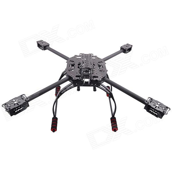 HJ-6504 Carbon Fiber Folding Four-axis Quadcopter Aircraft Frame Kit - Black t motor 1255 three hole carbon fiber propeller cw ccw for rc aircraft 2 pairs