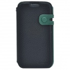 Zenus Stylish Protective Head Layer Cowhide Case Cover for Samsung Galaxy S4 - Black + Green