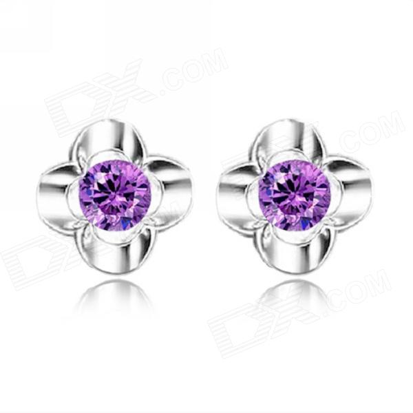 EQute Lovely 925 Sterling Silver Flower Shape Stud w/ 1 Carat Purple Zircon Earrings sterling silver ear thread