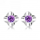 EQute Lovely 925 Sterling Silver Flower Shape Stud w/ 1 Carat Purple Zircon Earrings