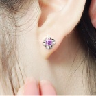 EQute Lovely 925 Sterling Silver Flower Shape Stud w / 1 Carat pourpre Zircon boucles d'oreilles
