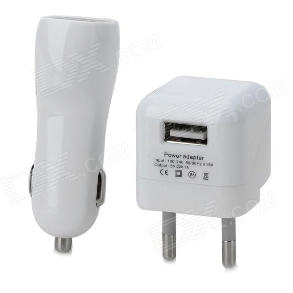 Dual USB Car Charger + EU Plug Power Adapter + Micro USB Cable for Samsung - White + Black universal eu plug power adapter micro usb cable for samsung htc 100 240v 100cm
