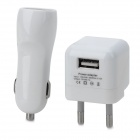 Dual USB Car Charger + EU Plug Power Adapter + Micro USB Cable for Samsung - White + Black