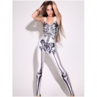 862056 Womens Skeleton Bones Punk Romper Jumpsuit - White + Black