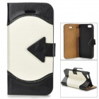 ZYEY-153 Protective PU Leather + Plastic Case for IPHONE 5 / 5S - Black + White