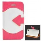 ZYEY-152 Protective PU Leather + Plastic Case for IPHONE 4 / 4S - Deep Pink + Beige