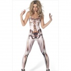 862036 Hot Muscle and Bone Catsuit Women's Jumpsuit - White + Brown + Black