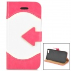 ZYEY-153 Protective PU Leather + Plastic Case for IPHONE 5 / 5S - Deep Pink + White