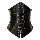 853016 Fashionable Gothic Black Leather Underbust Corset for Women - Black (Size-L)