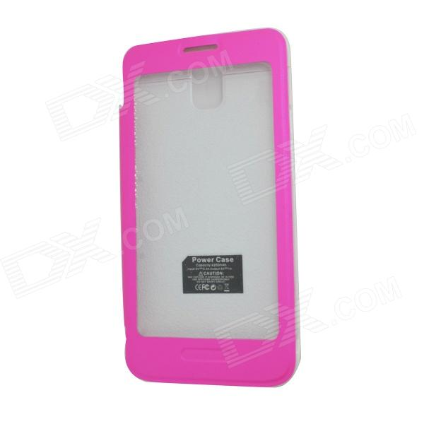 External 4200mAh Power Battery Charger w/ PU Leather Cover for Samsung Galaxy Note 3 N9000 - Pink