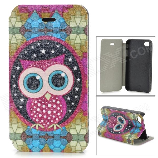 Cute Owl Pattern PU Leather Case for IPHONE 4 / 4S - White + Light Green + Multi-Colored for iphone 7 plus pattern printing light spot decor leather wallet case with lanyard cute cow