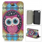 Cute Owl Pattern PU Leather Case for IPHONE 4 / 4S - White + Light Green + Multi-Colored
