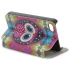 Cute Owl Pattern PU Leather Case for iPhone 4 / 4S-Hvit + Lysegrønn + Multi-farget