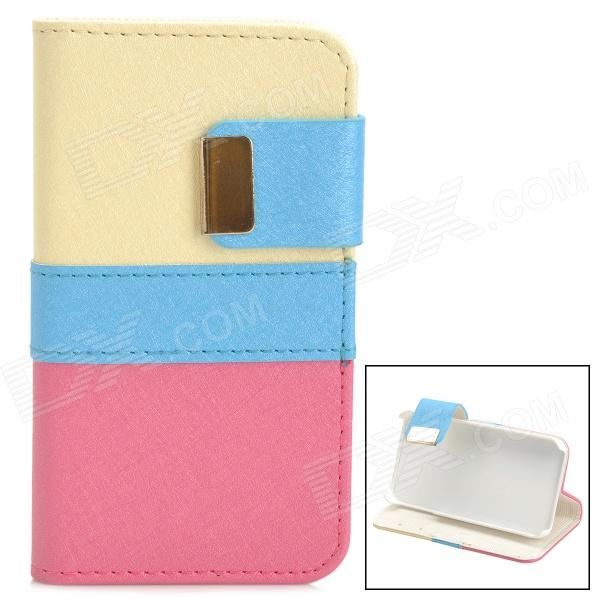 Protective PU Leather + Plastic Case for IPHONE 4 / 4S - Yellow + Blue + Deep Pink