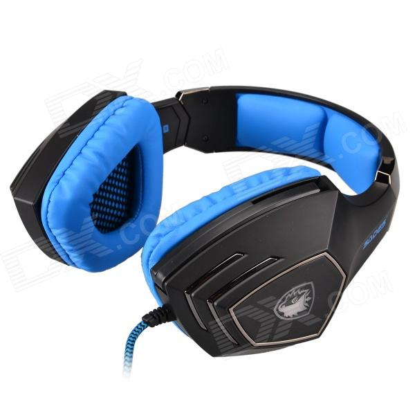 SADES A60 Wired Gaming Headset w/ Retractable Microphone&Glittering LED - Black + Blue (220cm-Cable) original xiberia v2 led gaming headphones with microphone mic usb vibration deep bass stereo pc gamer headset gaming headset
