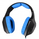 SADES A60 Wired Gaming Headset w/ Retractable Microphone&Glittering LED - Black + Blue (220cm-Cable)