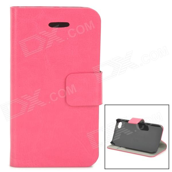 Protective PU Leather + Plastic Case for IPHONE 4 / 4S - Deep Pink protective pu leather plastic case w display window for iphone 4 4s maroon